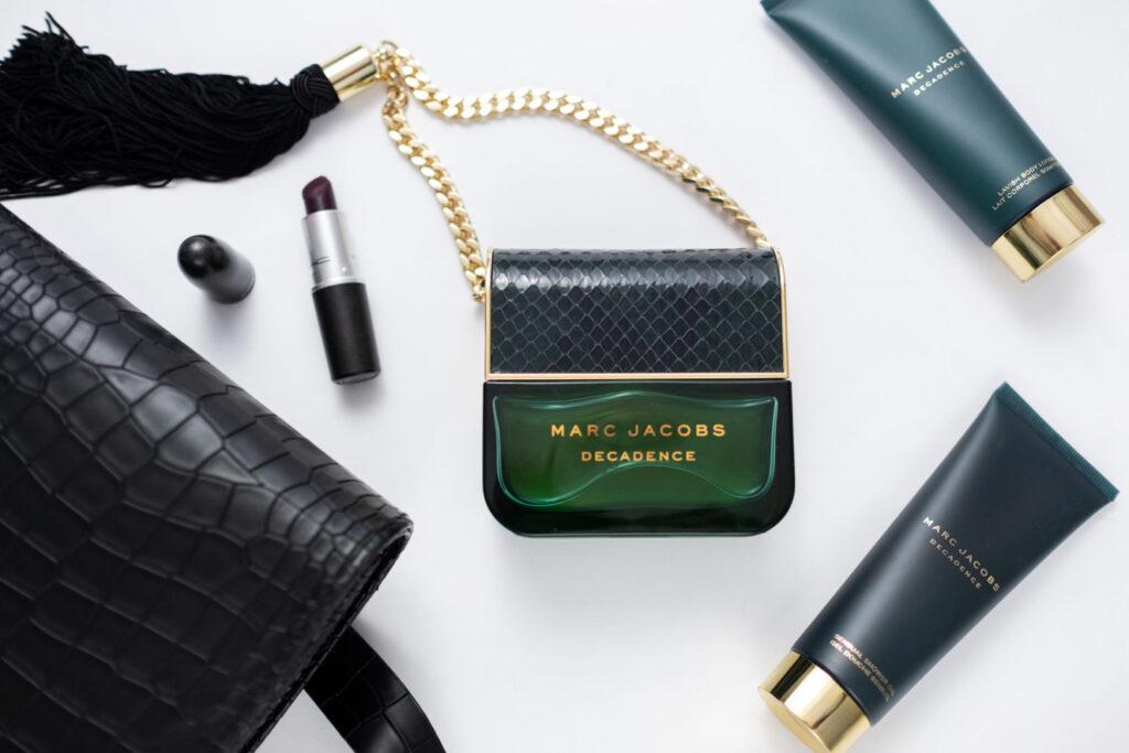 perfumy marc jacobs decadence zielony flakon, balsam do ciała, pomadka, torebka