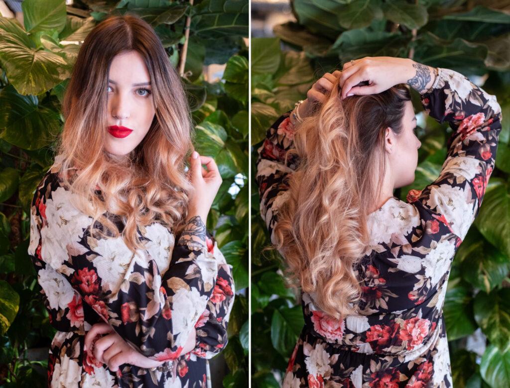dziewczyna z blond sombre w kwiecistej sukience zakupy