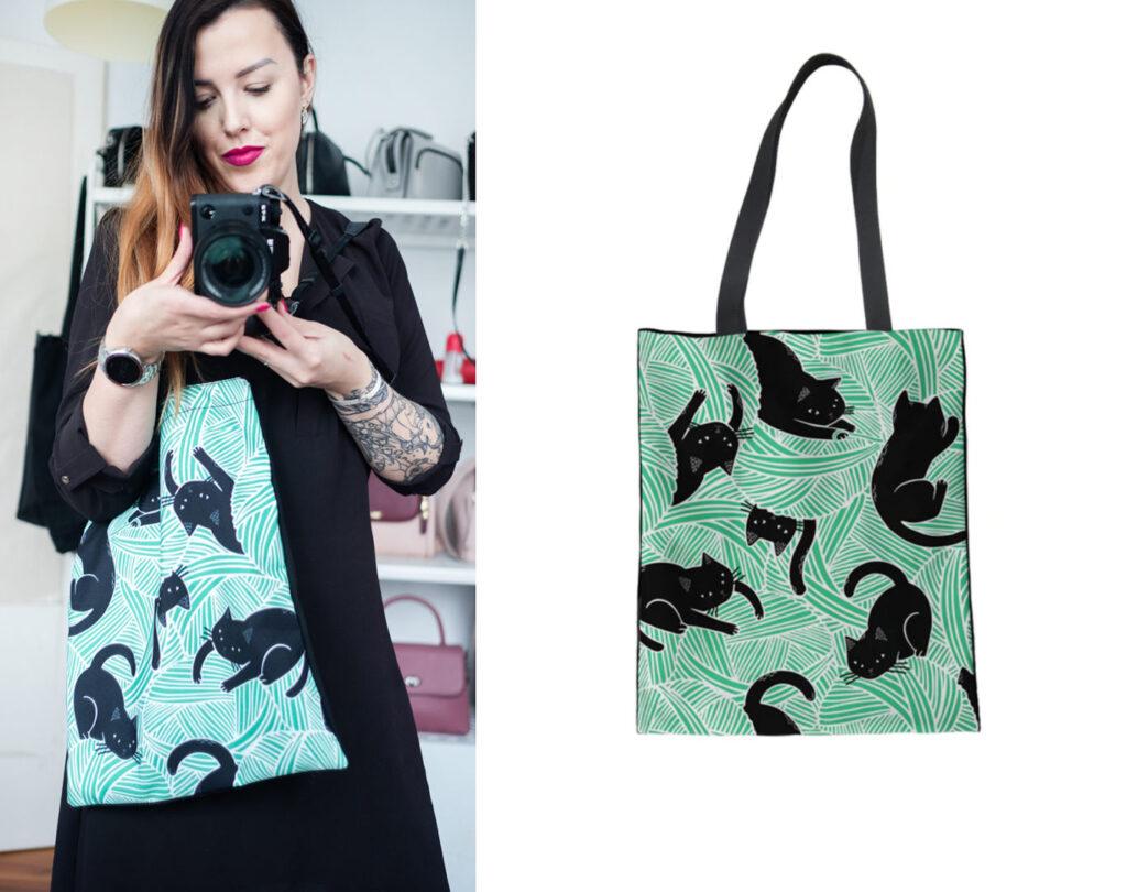 dziewczyna w materiałową torbą w koty