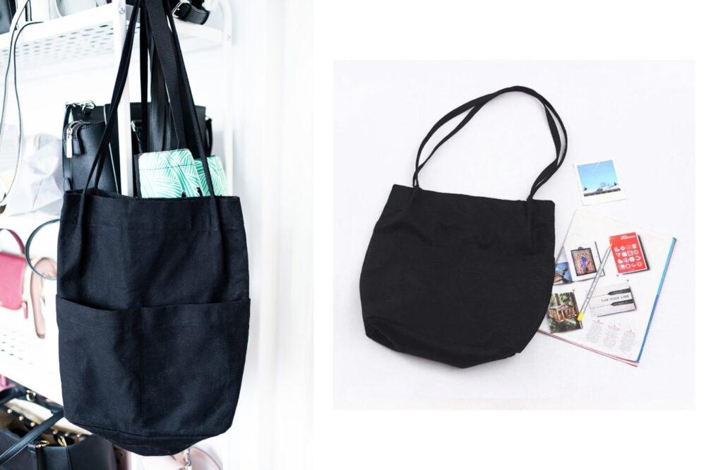 czarna torba materiałowa z kieszeniami