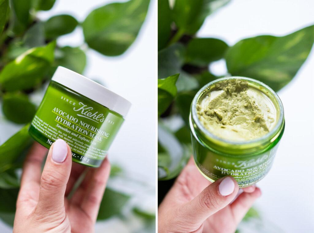 Maska Kiehl's z avocado nourishing mask konsystencja, otwarte opakowanie maski