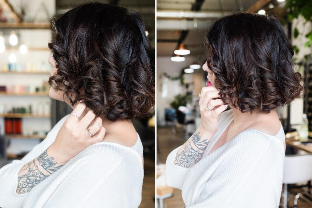 krótkie włosy brązowe loczki